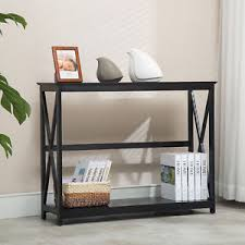 2 Tier Black Console Table Accent Tables with Storage Shelf Hallway