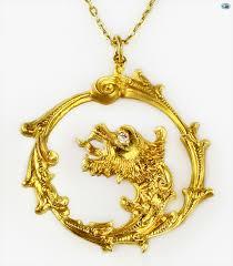 stunning vintage 18 karat yellow gold chinese dragon pendant