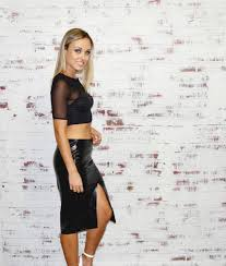 blog style trendy 2016 runway faux leather high waisted skirt split skirt asymmetrical hem skirt