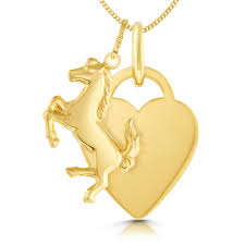 horse heart necklace personalised 9ct yellow gold