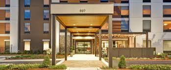 exterior of home2 suites decatur front entrance