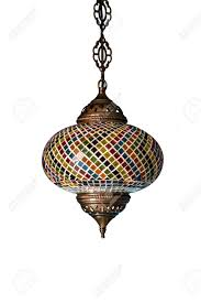 colorful chandelier lighting. Beautiful Chandelier Light With Colorful Decorated In Indian Style Isolated On White Background Stock Photo - Lighting