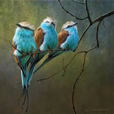roller bird oil painting