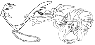 Small Picture Road Runner and wolf coloring page