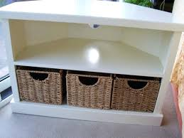 diy corner tv stands the solid wooden corner stand unit in white with 3 baskets for regarding stand with baskets ideas diy corner tv stand instructions