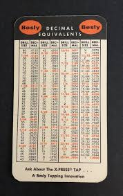 Decimal Drill Chart Besly Tap Drill Sizes Decimal Equivalents Metric