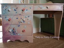 girls desk furniture. Girls Desk/dressing Table. Painted In Pink, Blue, Purple And Lilac Decorated Butterflies A Fairy Using The Decoupage Technique. Desk Furniture H