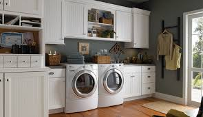 Grey Painted Wall And White Cabinets For Contemporary Laundry Room Ideas  With Laminate Flooring
