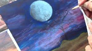 classplan moon night oil pastel on black card stock inadvertent asmr art painting tutorial you