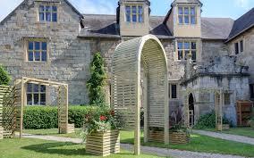 contemporary wooden garden arch