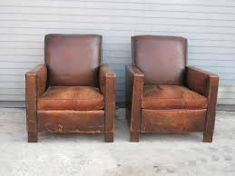 art deco pair of french deco leather club chairs for