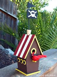 turn a wooden birdhouse into a pirate ship birdhouse cool enough for jack sparrow in