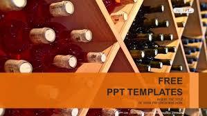 Wine Powerpoint Template Wine Bottles Stacked On Wooden Racks Powerpoint Templates
