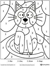 number coloring pages for preschoolers. Fine Preschoolers FREE Color By Number Cat Worksheet Printable Color By Number Coloring  Pages Perfect For Preschoolers To Help Them Develop Eyehand Coordination  For Coloring Pages Preschoolers R