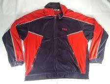 fila jogging suits. vtg fila velour track jacket sz l / xl red gray soft guc hip hop retro jogging suits