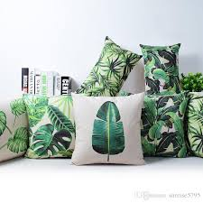 Small Picture Tropical Rainforest Cushion Cover Green Jungle Plant Throw Pillow