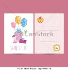 birthday postcard template happy birthday postcard vector illustration happy birthday kids