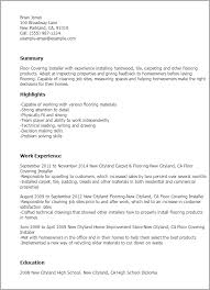 Resume Templates: Floor Covering Installer