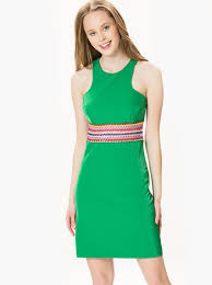 Women S Belt Detail Sleeveless Midi Green Dress