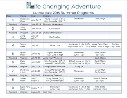Summer Camp Weekly Schedule Summer Camps Lutherdale Ministries