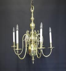 6 arm dutch style chandelier ca 1920