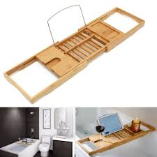 luxury bamboo bridge adjule bathtub caddy tray rack book reading wine holder