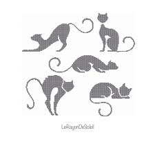 Cat Silhouette Embroidery Design Animal Pet Cross Stitch Pattern Black Cats Silhouette