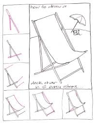 Draw a deck chair Step by step drawing Kawaii and Doodles