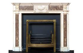 0830 18th century neoclassical white marble fireplace mantel with brocatelle marble inlay