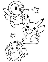 Pokemon Paradijs Kleurplaat Piplup Pikachu En Shaymin
