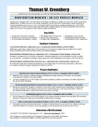 Project Coordinator Sample Resume For A Construction Manager