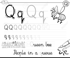 Black and White Cartoon Illustration of Writing Skills Practice with Letter Q  Worksheet for Children Coloring