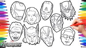 Avengers coloring pages in good quality, 110 pieces strong hulk avengers coloring page The Avengers Coloring Pages How To Draw All Avengers Character Faces Iron Thor Hulk America Youtube