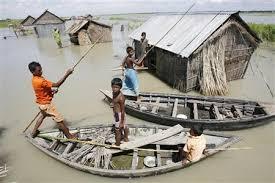 Map of Kazipur Upazila  Bangladesh showing flood control embankments