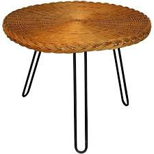 coffee table in rattan and black lacquered metal lacquer round