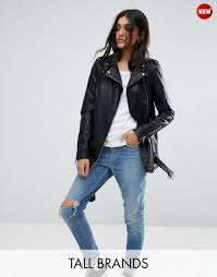 noisy may tall leather look biker jacket women black jackets noisy may parka miss uk