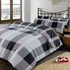 dreamscene wide check duvet cover with pillow case bedding set argyle tartan black grey double