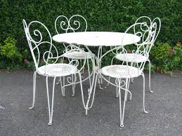 White Wrought Iron Patio Furniture Outside Table And Chairs Smallnd