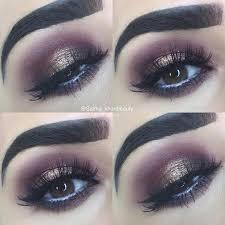 burgundy and dark gold glitter smokey eye for brown eyes
