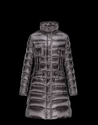 moncler women coats long steel grey with fur collar removable cap uk