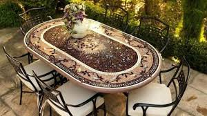 tile outdoor table. Minimalist Ceramic Tile Patio Table Outdoor Top Dining And Cast Iron Chairs Set