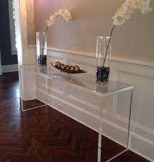... Lucite Acrylic Console Table Beautiful Modern Clear Minimalist Lacquer  Custom Furniture Transparent Metalic Plastic Desk Edge ...