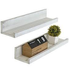 vintage white wood floating shelves