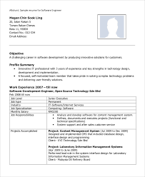 Software Developer Resume Samples Sample Software Engineer Resume 8 Examples In Word Pdf