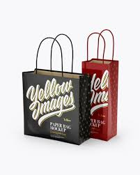Two Glossy Paper Bags Mockup Half Side View In Bag Sack Mockups On Yellow Images Object Mockups Mockup Free Psd Bag Mockup Free Psd Mockups Templates