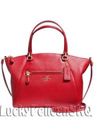 COACH 34340 PRAIRIE SATCHEL IN PEBBLE LEATHER Light Gold Red NWT