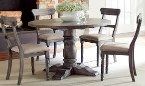 round dining table set with regard to modern rustic brushed gray finish s furniture ideas 8