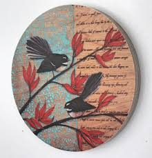 fantail image by justine hawksworth 14cm diameter ply round hole in the back for hanging printed in nz