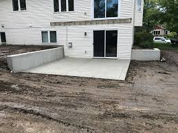 poured concrete retaining wall and