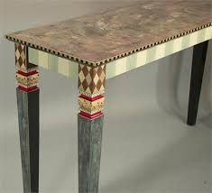 hand painted furnitureCarved Leg Sofa Table NoDrawers AquaRaspberry from Suzanne Fitch